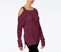 Hooked Up by IOT Juniors Knit Cold-Shoulder Sweater, Ruby/Burgundy
