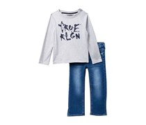 True Religion Toddlers Long Sleeve Raglan Top & Jeans Set, Grey/Blue