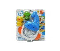 B kids Scoop 'N Hoop Pals Bathtub Toy, White/Blue/Yellow