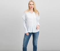Two by Vince Camuto Flounce Shoulder Button-Down Top, Light Cream