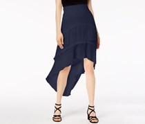 BCX Juniors Faux-Tiered High-Low Skirt, Navy