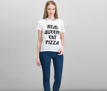 Women Juniors Eat Pizza Graphic-Print Top, White
