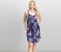Lucky Brand Printed Twist-Strap Dress, Navy Combo