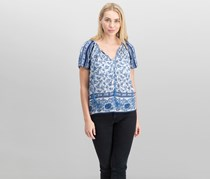 Lucky Brand Women Printed Peasant Top, Blue Combo