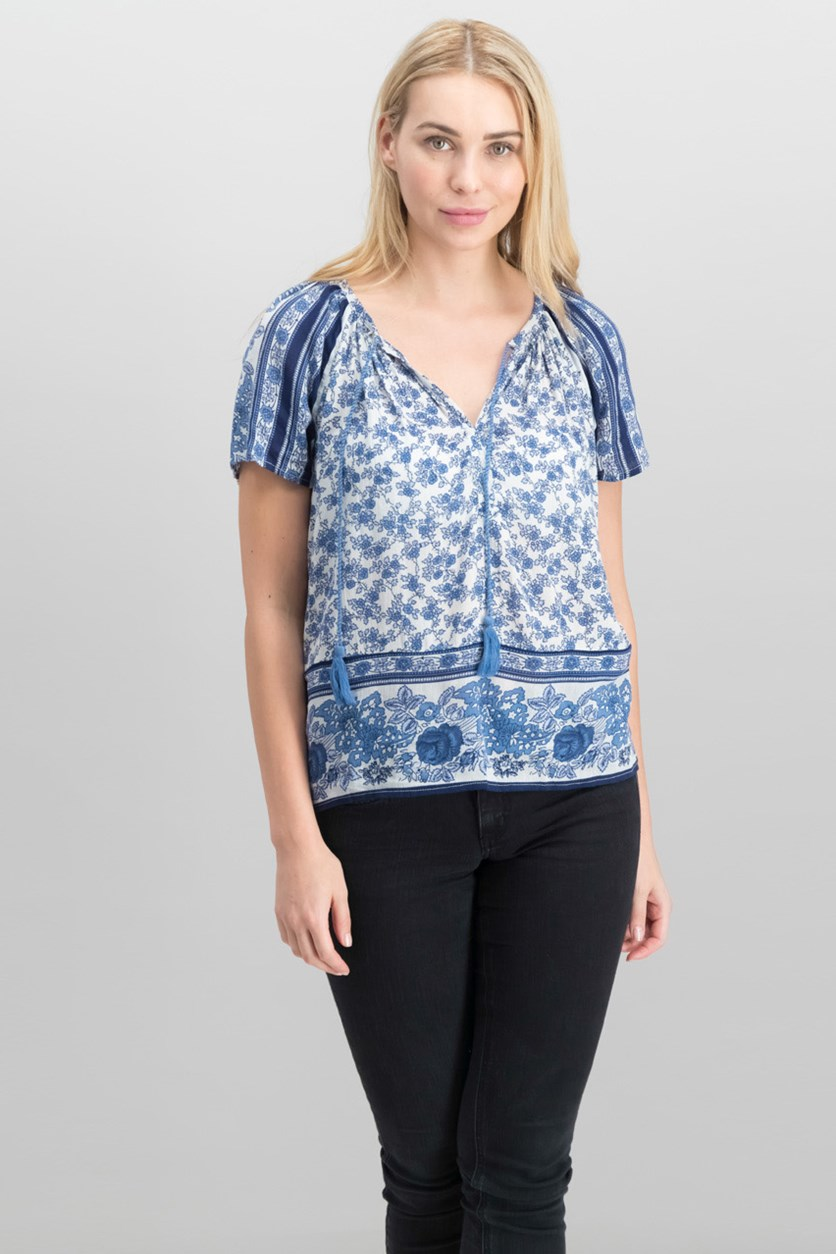 Women Printed Peasant Top, Blue Combo
