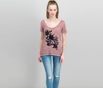 Lucky Brand Flocked Burnout T-Shirt, Renaissance Rose