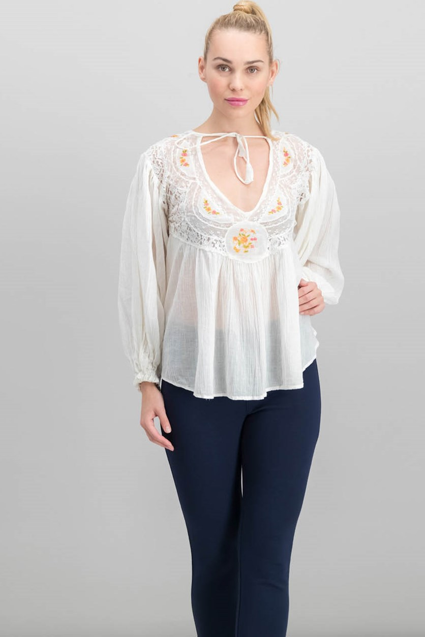 Women Secret Garden Cotton Embroidered Blouse, Ivory