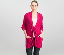 Women Beach House Brunch Cardigan, Raspberry