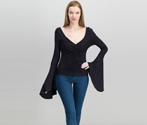 Women What A Babe Flared-Sleeve Top, Black