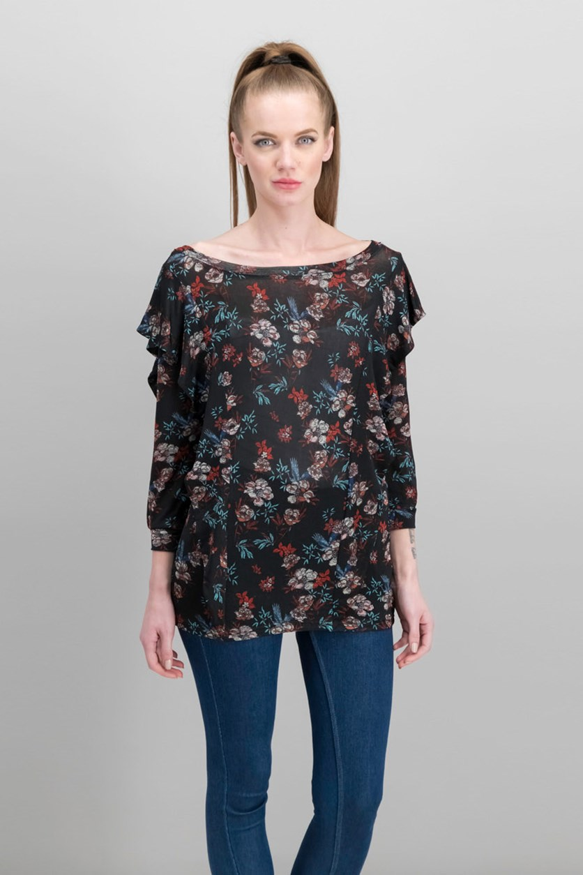 Women's Floral Print Ruffled Blouse, Black Combo