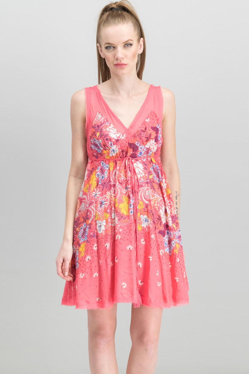 Women Longwood Printed Slip Dress, Pink