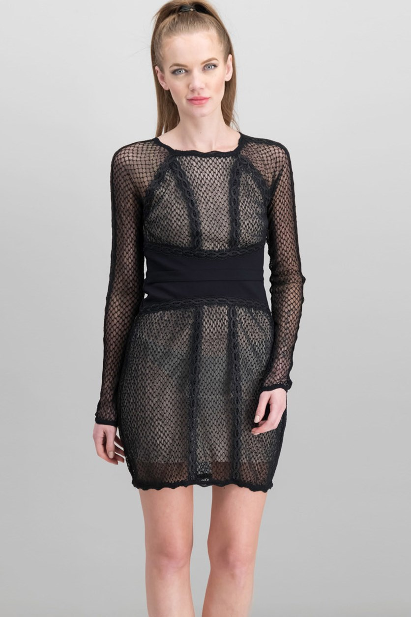 Women's  Lace & Mesh Body-Con Dress, Black