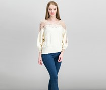 Free People Juniors Lace-Trim Peasant Sweater Top, Ivory Combo