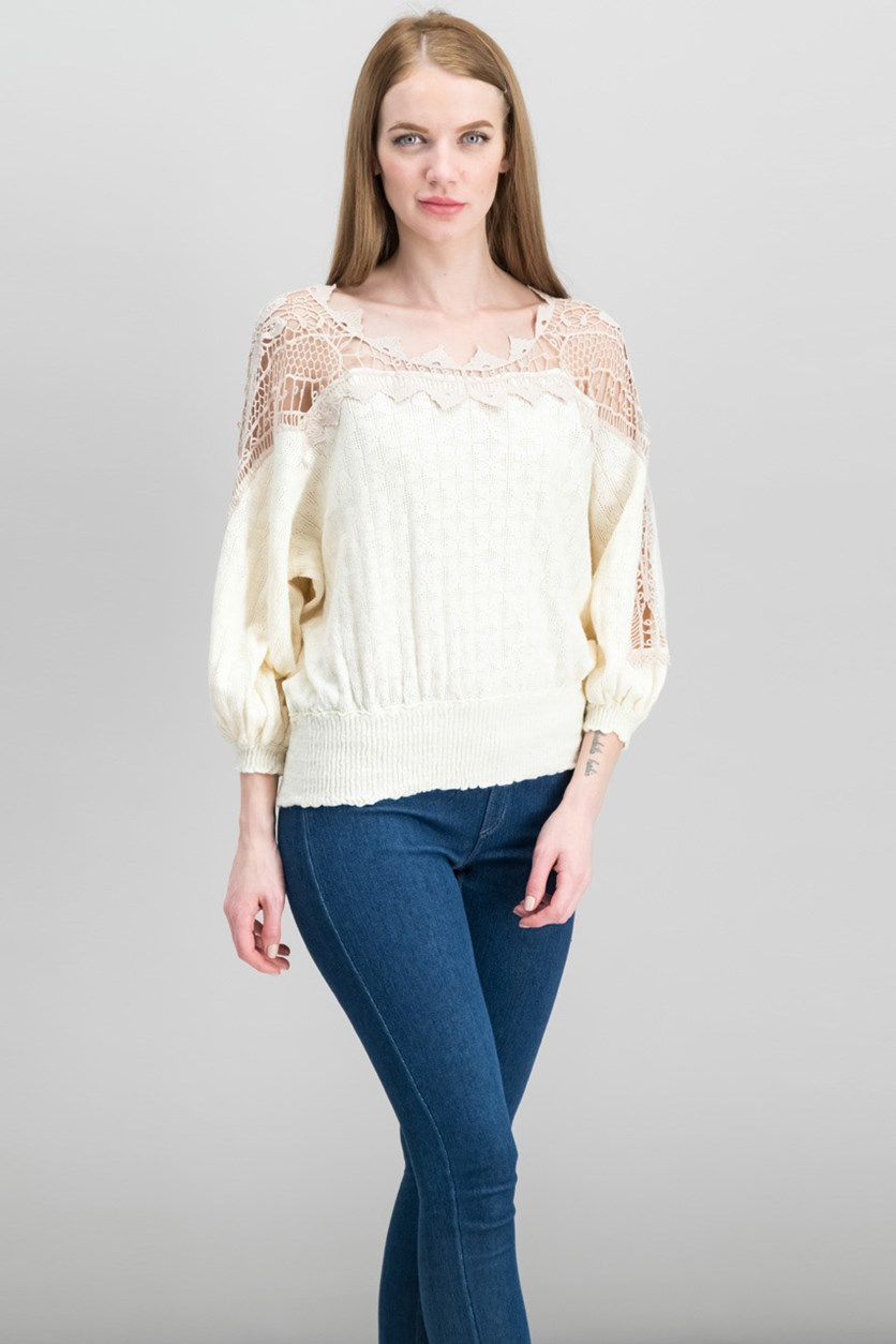 Juniors Lace-Trim Peasant Sweater Top, Ivory Combo