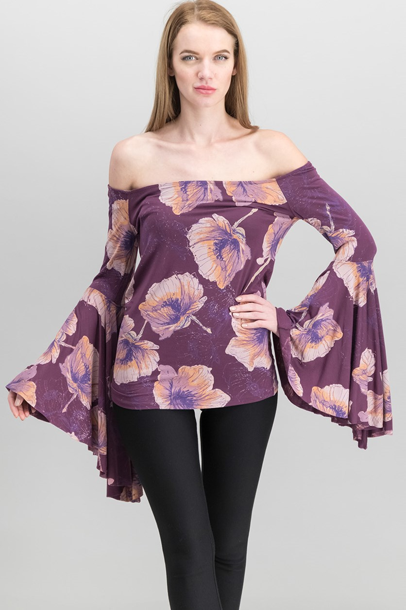 Off-The-Shoulder Bell-Sleeve Top, Mulberry Combo
