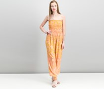 Free People Thinking Of You Printed Smocked Jumpsuit, Yellow Combo