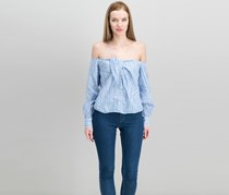 Free People Hello There Beautiful Off-Shoulder Tied Blouse, Blue