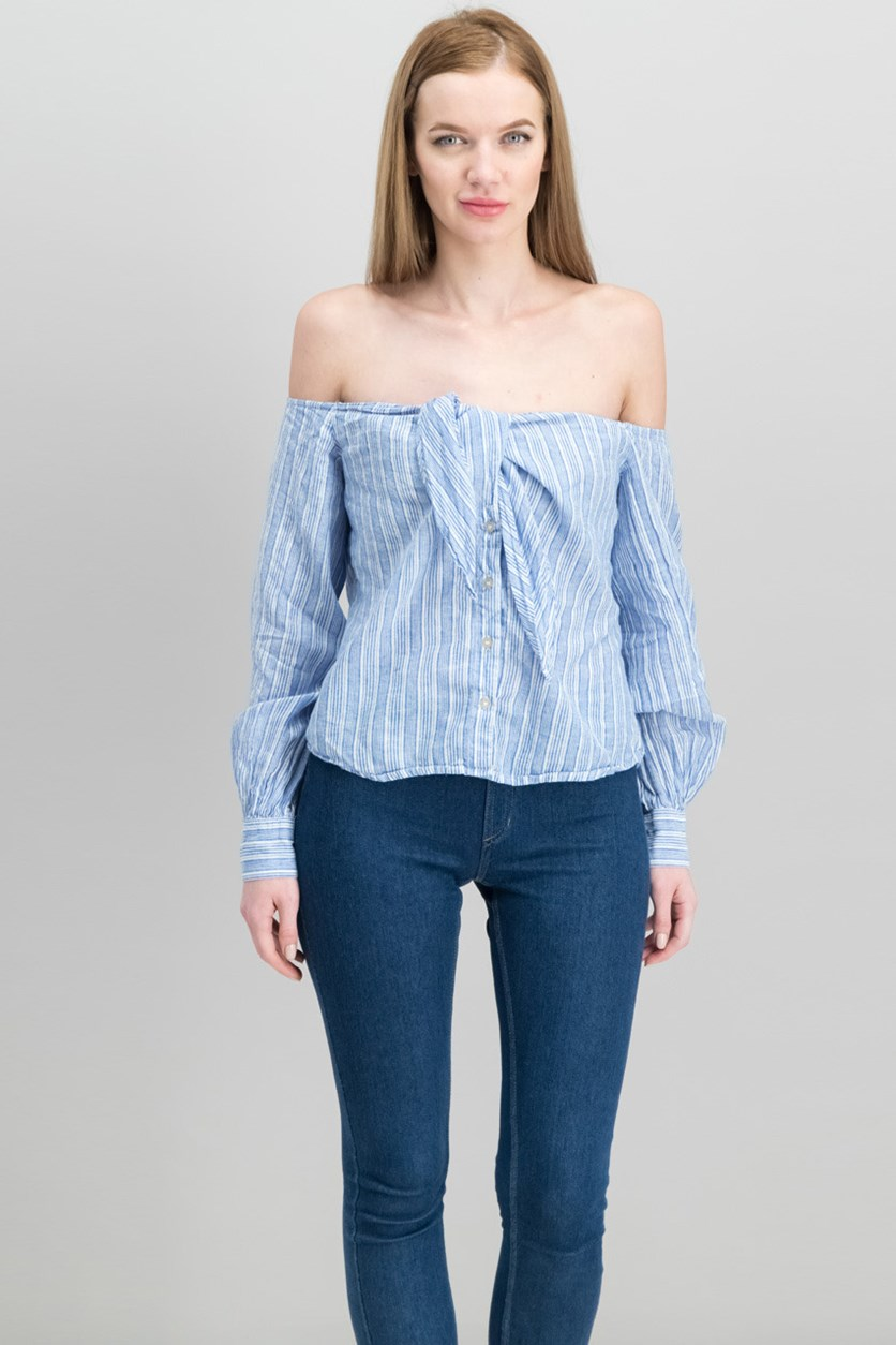 Hello There Beautiful Off-Shoulder Tied Blouse, Blue