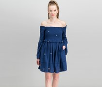 Free People Women's Counting Daisies Embroidered Dress, Navy