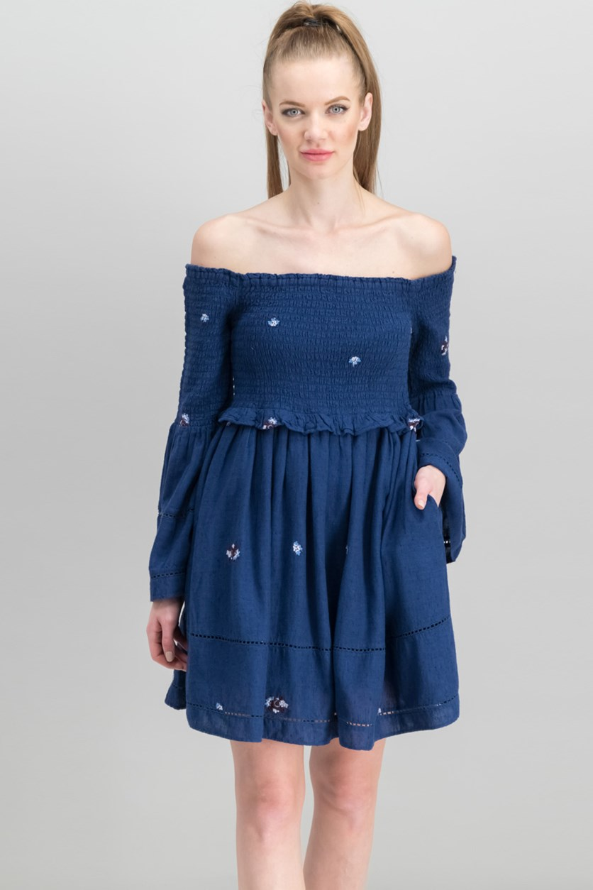 Women's Counting Daisies Embroidered Dress, Navy