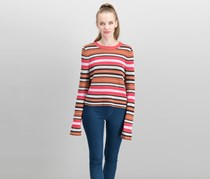 Free People Women's New Age Striped Cropped Sweater, Pink Combo