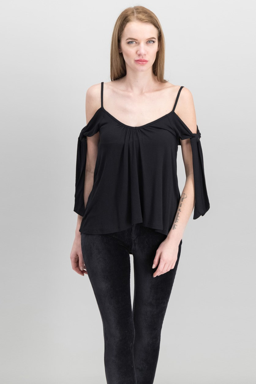 Women Believe Me Cold-Shoulder Top, Black
