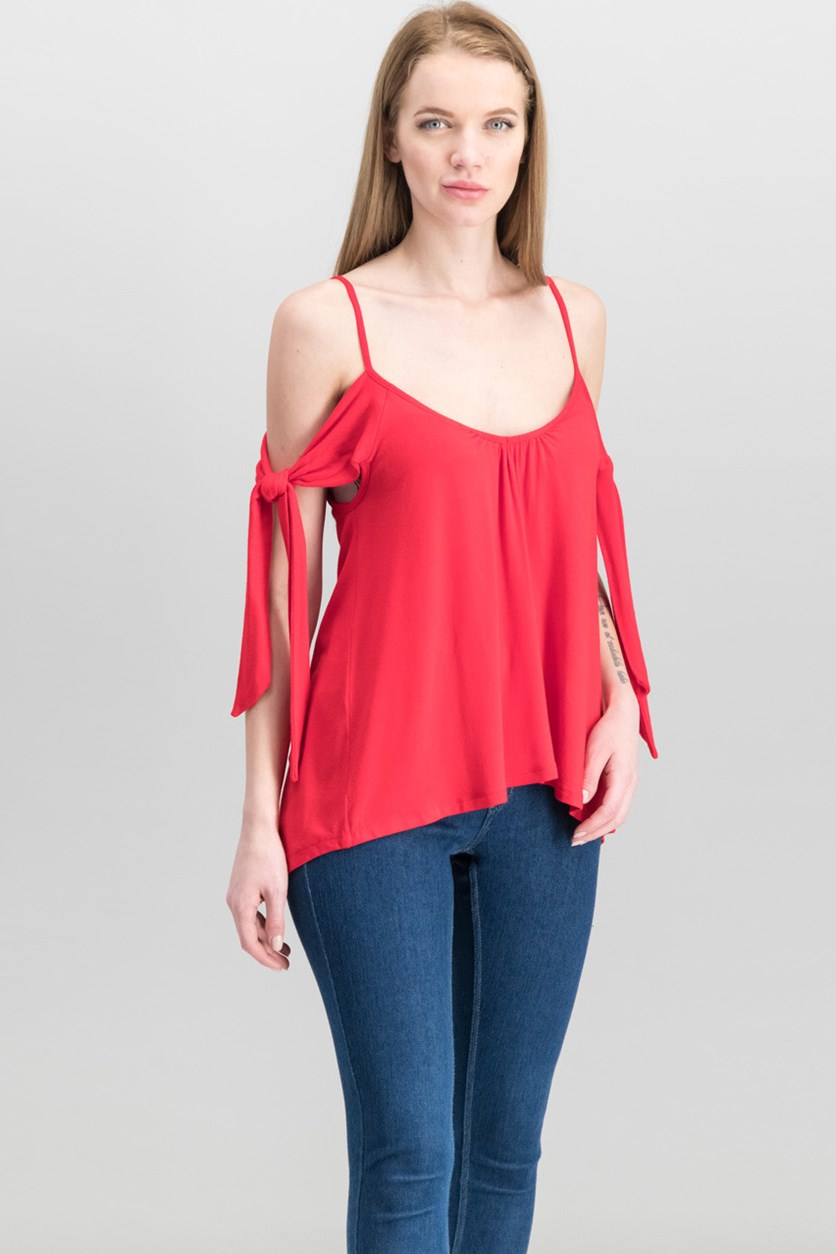 Women's  Believe Me Cold Shoulder Top, Red