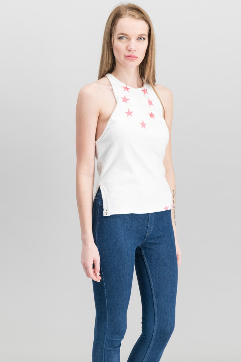 Women Cotton Embroidered Tank Top, White