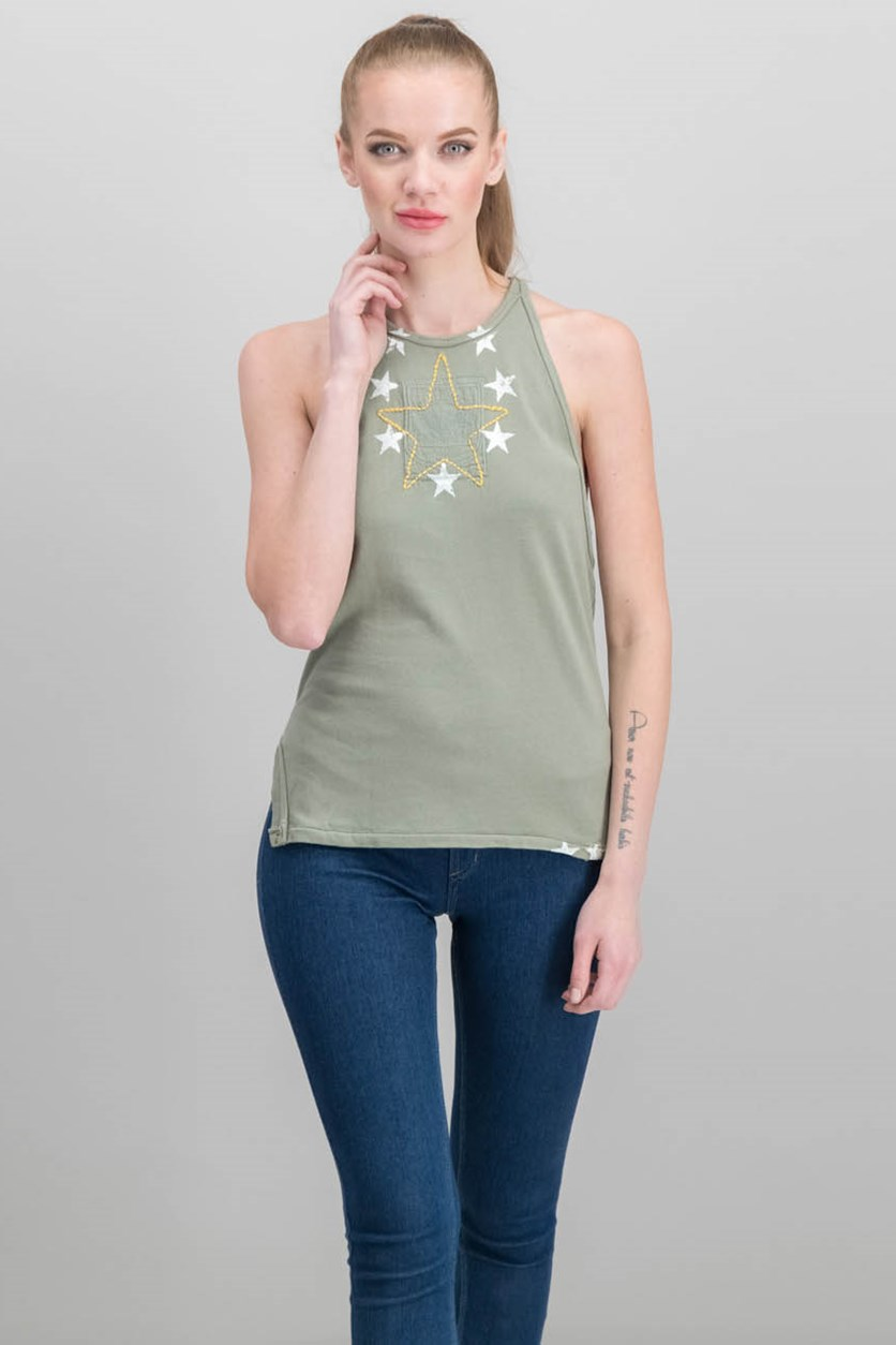 Women Cotton Embroidered Tank Top, Army