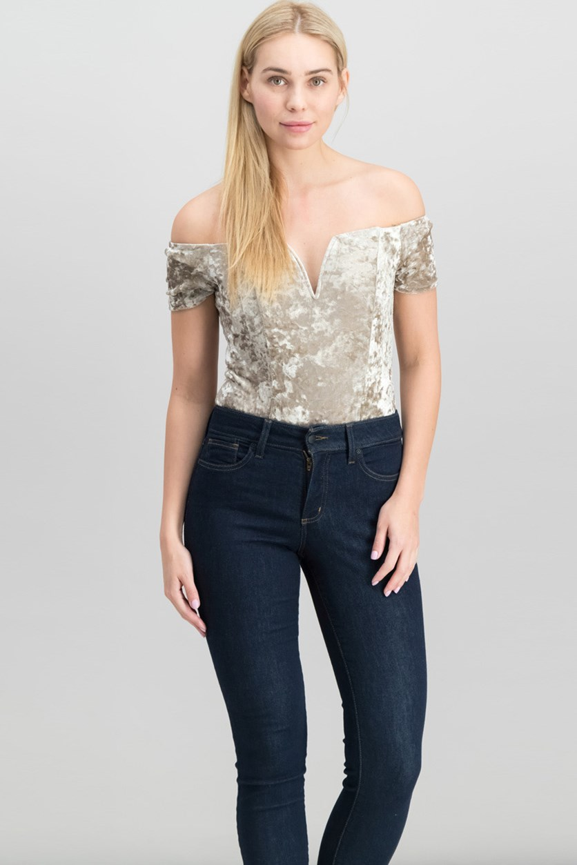 Ella Crushed Velvet Off-The-Shoulder Bodysuit, Pale Gold
