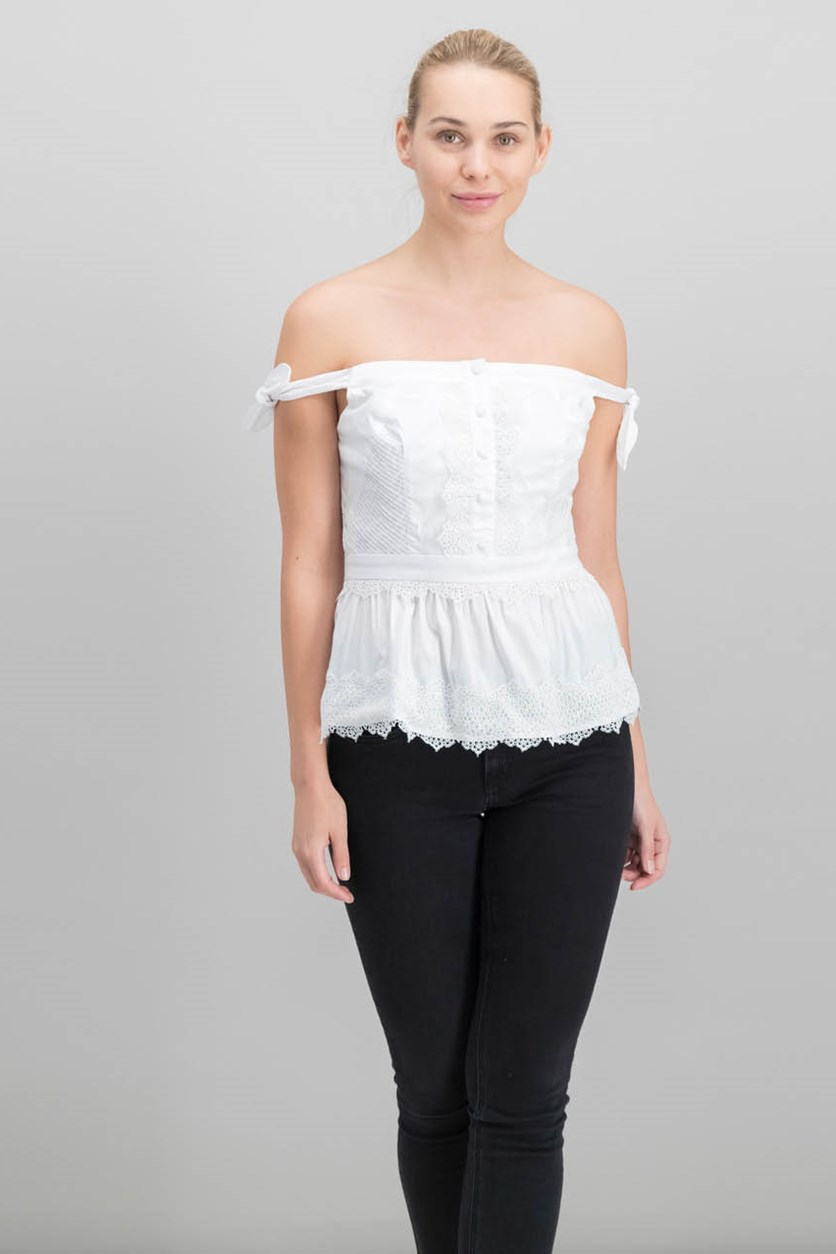 Asher Peplum Off-The-Shoulder Top, True White