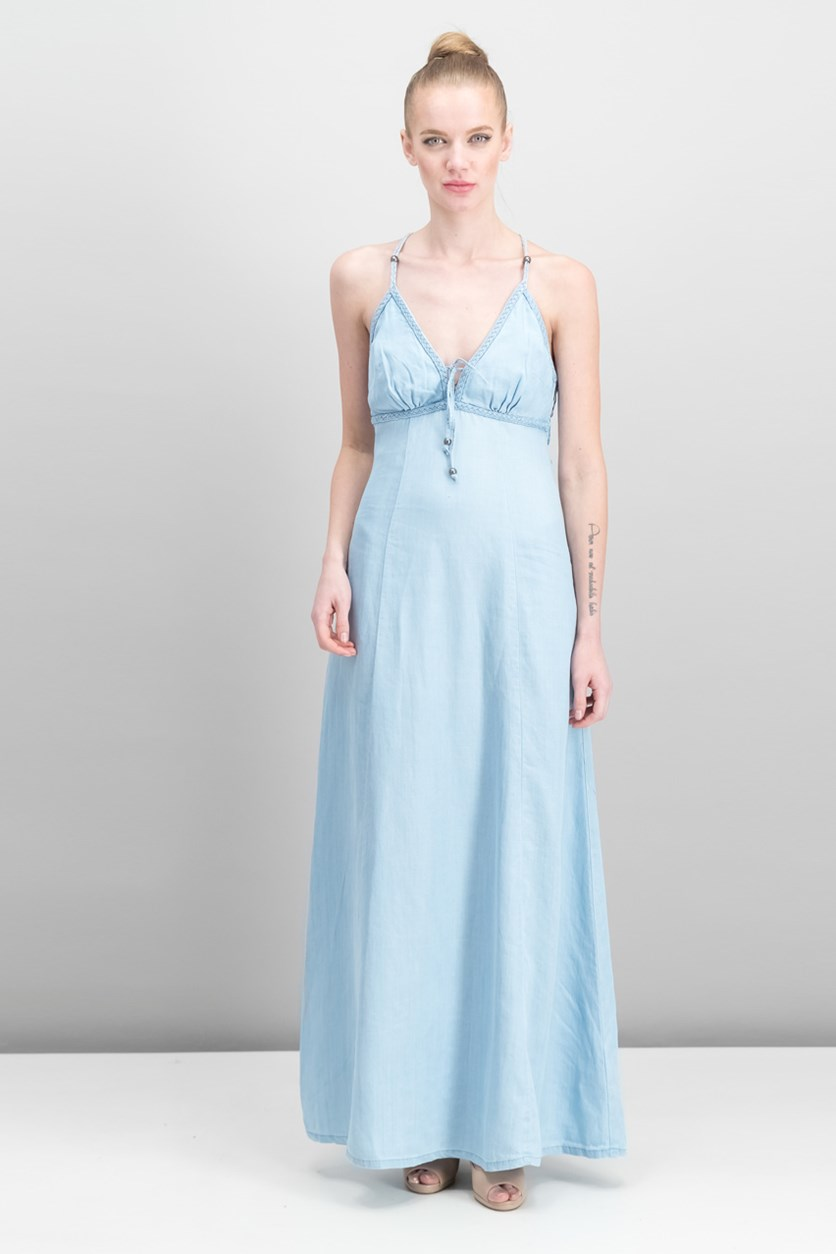 Beaded Maxi Dress, Super Bleached Wash