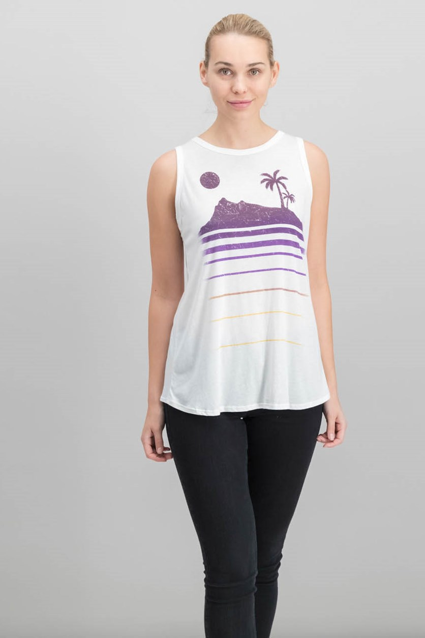 Women Cotton Graphic Tulip-Back Tank, White