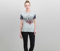 Women Juniors' Darlin' Graphic T-Shirt, Heather Grey