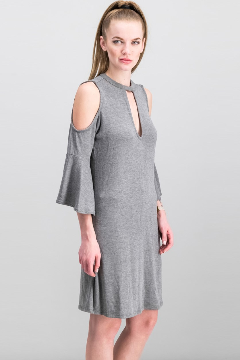 Women Cold-Shoulder Choker Dress, Charcoal