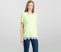 Women Embellished Lace-Contrast Top, Key Lime