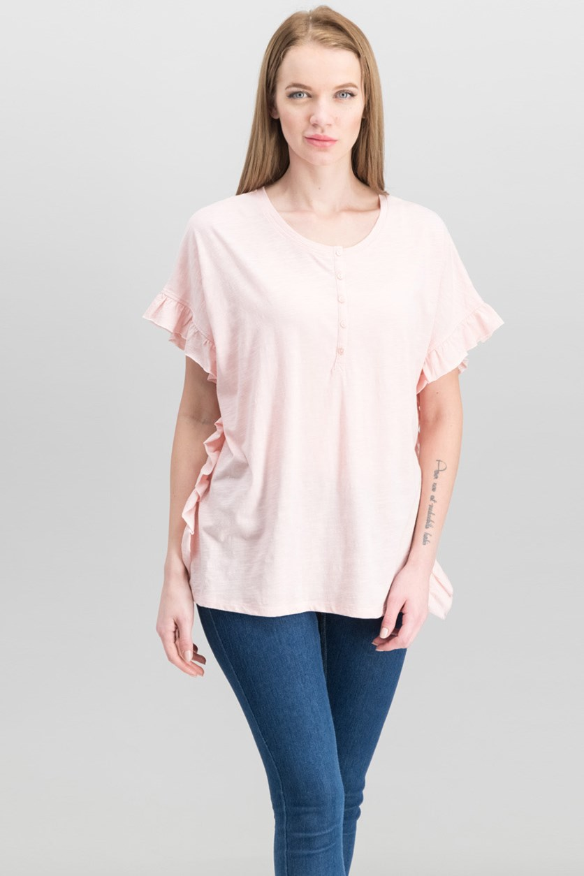 Women's Cotton Ruffle-Trim Top, Blossom