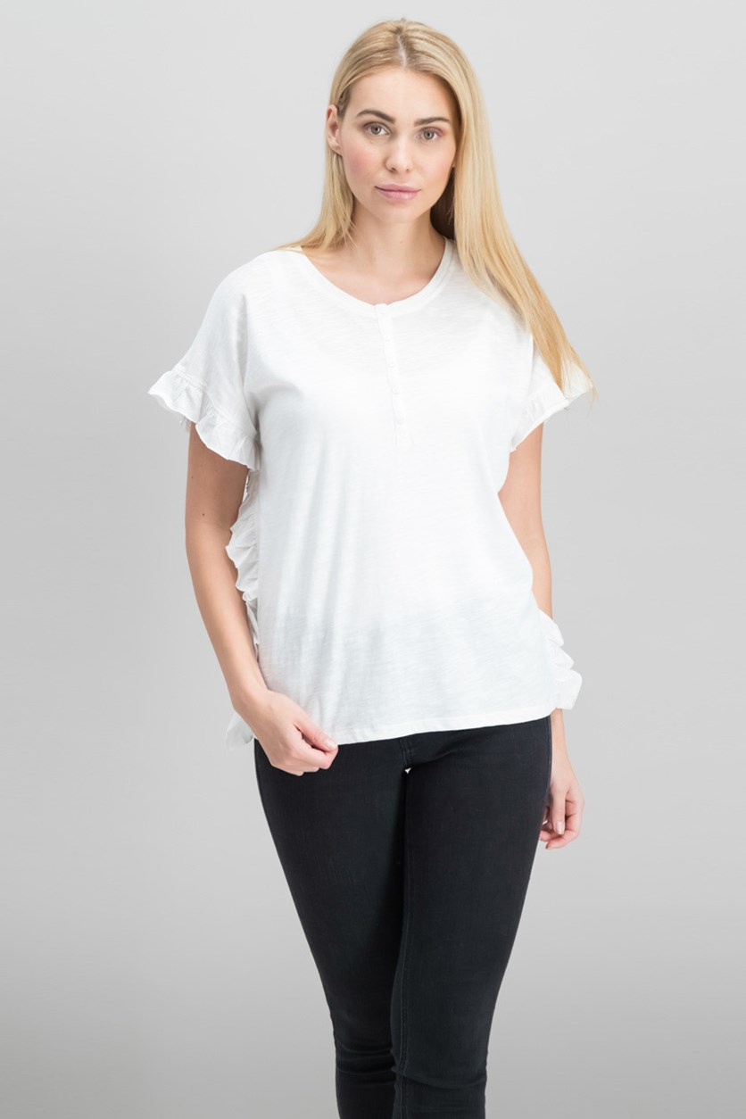 Women Cotton Ruffle-Trim Top, White