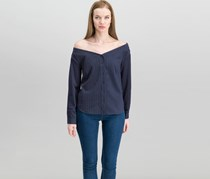 Kensie Off-The-Shoulder Pinstripe Shirt, Navy