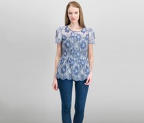 Kensie Chambray-Lace Illusion Peplum, Midnight Navy Combo