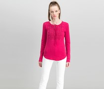 Women Cotton Lace-Up Thermal Top, Persian Red