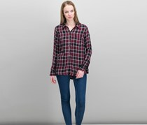 Lucky Brand Women Plaid Button-Down Top, Burgundy Combo