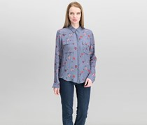 Lucky Brand Women's Floral-Print Flap-Pocket Shirt, Grey