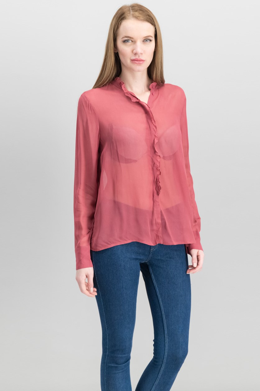 Women's Ruffled Illusion Button Up Shirt, Earth Red