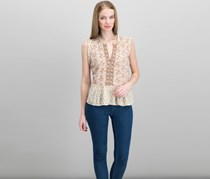 Lucky Brand Mixed-Print Peplum Top, Natural combo