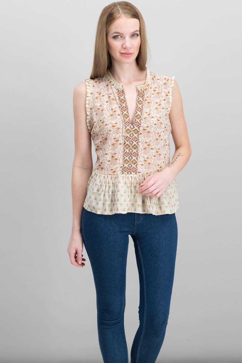 Mixed-Print Peplum Top, Natural combo