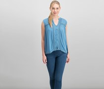 Women Embroidered Button-Up Top, Provincial Blue