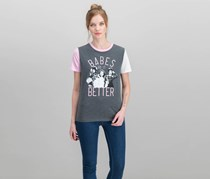 Love Tribe Juniors' Clueless Babes Graphic Ringer T-Shirt, Charcoal Heather