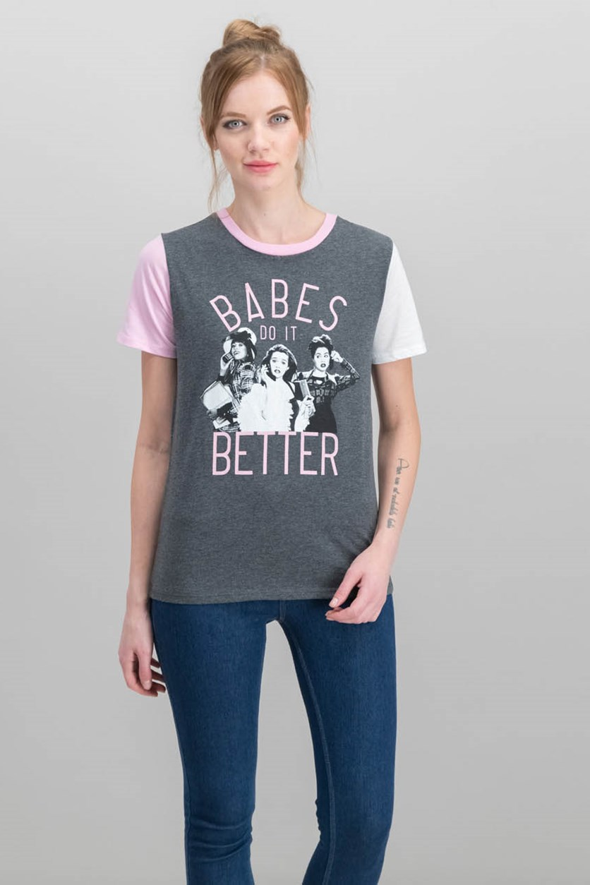 Juniors' Clueless Babes Graphic Ringer T-Shirt, Charcoal Heather