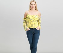Guess Women's Natassia Floral-Print Off-The-Shoulder Top, Yellow